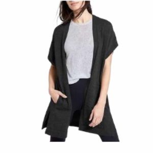Athleta Gray Short Sleeve Sweater Cardigan